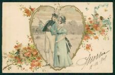 Art Nouveau Romantic Couple Heart Relief serie 8100 UNGLUED postcard TC4593