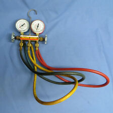 Yellow Jacket Test Charging Manifold Ritchie R12 R22 R502w/Hoses Steam Punk