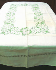 Vintage Linen Tablecloth Cross-Stitch Grapes Handmade Embroidery 60x78