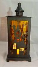 "Halloween Haunted House Lantern Light Candle Metal Decor LED Window Wall  13"""