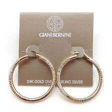 "GIANI BERNINI Dmnd Cut 24k Gold Over Sterling Silver Large Hoop Earrings 1 3/8"""