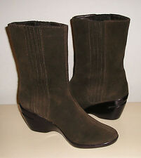 COLE HAAN NAir Women's Brown Leather Dress Wedge Fashion Pull-On Boots 7 B