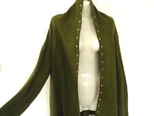 Ladies Knit Jacket Drape Cardigan Jumper Long Size 8 Small Khaki Green New SALE