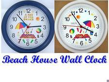 BEACH House Wall CLOCK Sun Sand Sea Ocean Castle Shells Shore Summer Vacation