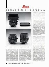 """LEICA M _ ELMARIT - M _ 2.8 / 28 mm _ """"Information produit"""" / data sheet"""