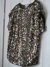 MEDIUM NEW BLOUSE SEQUIN SLEEVELESS TAUPE GRAY ROUND NECK WD NY