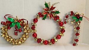 3 Vintage Christmas Jingle Bell Wreaths   & Candy Cane Bells Door Hangers