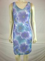 Assa Womens Sleeveless Blue Floral sun dress Knee Length size small fits 2 4
