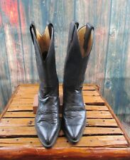 Ladies Justin Black Leather Cowgirl Western Boots Sz:7 B