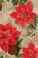 Noel Poinsettias/Christmas Holly/Mistletoe/Pine Cones Vinyl Tablecloth Var Sizes
