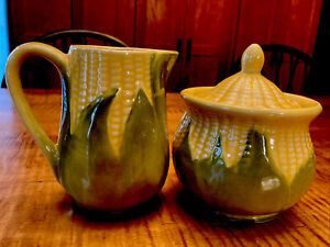 VINTAGE SHAWNEE CORN 3 PIECE SET SUGAR BOWL WITH COVER #78 & CREAMER #70