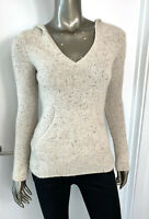 Vince Cashmere Women's Sweater Beige Hoodie V Neck Pocket Pull Over Jumper Sz XS