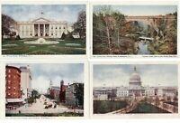LOT OF 4 ~ Washington DC views trolley bridge ~ UDB c1905 unused postcards