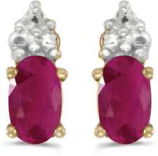 14k Yellow Gold Oval Ruby Earrings