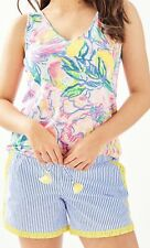 Lilly Pulitzer Size XL Katia Embroidered Shorts NWT Yellow Blue