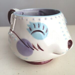 """Anthropologie Fox Face """"Hers"""" Mug Hand Painted Retired/Discontinued Pattern EUC"""