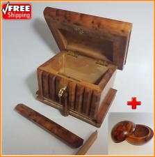 Magic Secret Box Puzzle, Hide Stuf, Brain Teaser, Thuya Wood Moroccan Handmade