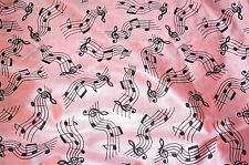 Pink Music Notes Slipper Satin Apparel Fabric Lingerie Robes   BFab