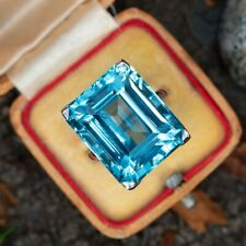 Solitaire Style 29.34 Carat Emerald Cut Aquamarine Gemstone Women's Silver Ring