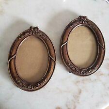Vintage Wood Carved Floral Oval Picture Frames ~ set of 2