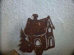 Edelrost Haus mit Tanne, Metall, Dekoration, Rost,