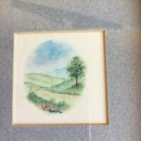 Landscape Watercolor Miniature original painting signed Flowers and Tree Framed