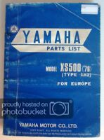 YAMAHA XS500 ('76) Motorcycle Spare Parts List Type 1H2 Jan 1976  #1H2-28198-E5