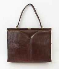 VINTAGE 1950s SYDNEY OF CALIFORNIA GENUINE REPTILE LIZARD SKIN HANDBAG COGNAC