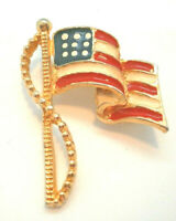 Waving Flag Brooch Pin Enamel Gold Tone Patriotic 4th of July USA Vintage