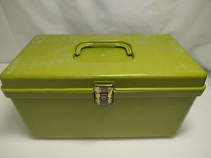Mid Century Green Wilson Wil Hold Sewing Box w/ Tray Metal Clasp Optical Design