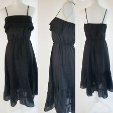 Vintage 1970s Black Airy Summer Dress 70s boho lbd simple strappy bardot