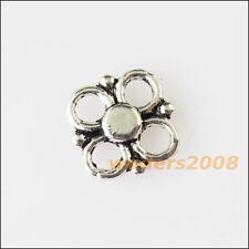 45 New Tiny Flower Connectors Tibetan Silver Tone Charms Pendants 8.5mm
