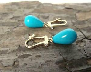 18 Karat Yellow Gold Over 12.59Ct Sleeping Beauty Turquoise Drop Earrings 1 Pair