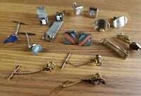 Vintage Tie Tack & cufflink lot gold and silver tone cameo