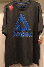 Men's Reebok Birch Delta Logo Training Shirt Gray XL Crossfit NWT