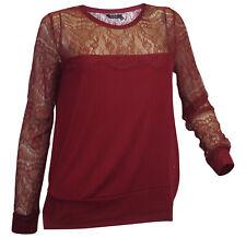KAPORAL Langarmshirt Gr. L 40 bordeaux Spitzenshirt neu Shirt Spitze