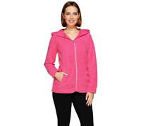 Denim & Co. Active Space Dyed Zip Front Jacket w/ Hood BLACK Color Size 2X