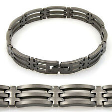 unisex Edelstahl Armband anthrazit beschichtet 20,5cm Schmuck als Geschenk