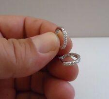 925 STERLING SILVER HUGGIE/ HOOP EARRINGS W/ .75 CT LAB DIAMONDS/ 14MM DIAMETER