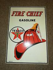 VINTAGE TEXACO FIRE CHIEF 27 x 141cm PORCELAIN METAL GASOLINE PLATTE