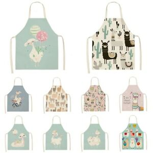 Waterproof Cute Alpaca Printed Cotton Linen Apron Kitchen Cooking Bib Aprons