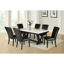 Finley White Marble Top Dining Table