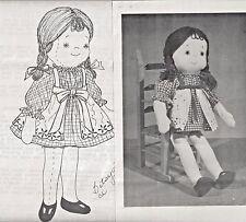 "18""Cloth/Soft Sculpture Girl/Child Toddler Doll Dress Apron Panties Shoe Pattern"