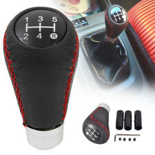 Universal Manual Car Gear Stick Shift Knob Shifter 5 Speed Red Stitche Leather