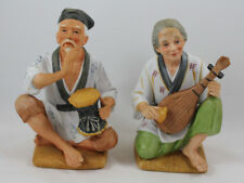 Homco Asian Man With Drum and Woman With Pipa Ceramic Figurines