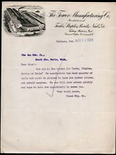 1911 Madison Indiana - Tower Manufacturing Co - Tucks Staples Nails Letter Head
