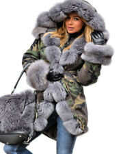 New Ladies Army Parka Coat Winter Warm Lined Fur Jacket Womens Style Hood Parker