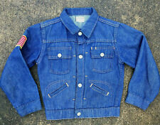 Vintage Kids Boys Youth Childrens Denim Jean Pleated 50s 60s Coat Jacket Penneys