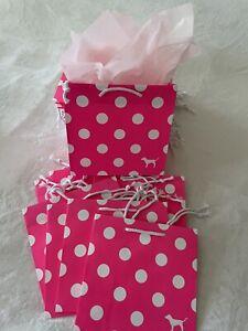 5 Bags Victoria Secret PINK DOG LOGO POLKA DOT Shopping Paper Bags w/ Tissue New
