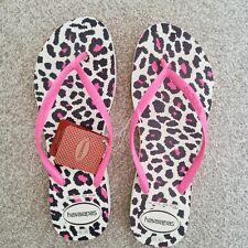 HAVAIANAS Womens Slim Animal Platform Flip Flops Beige / Pink SIZE 8 New